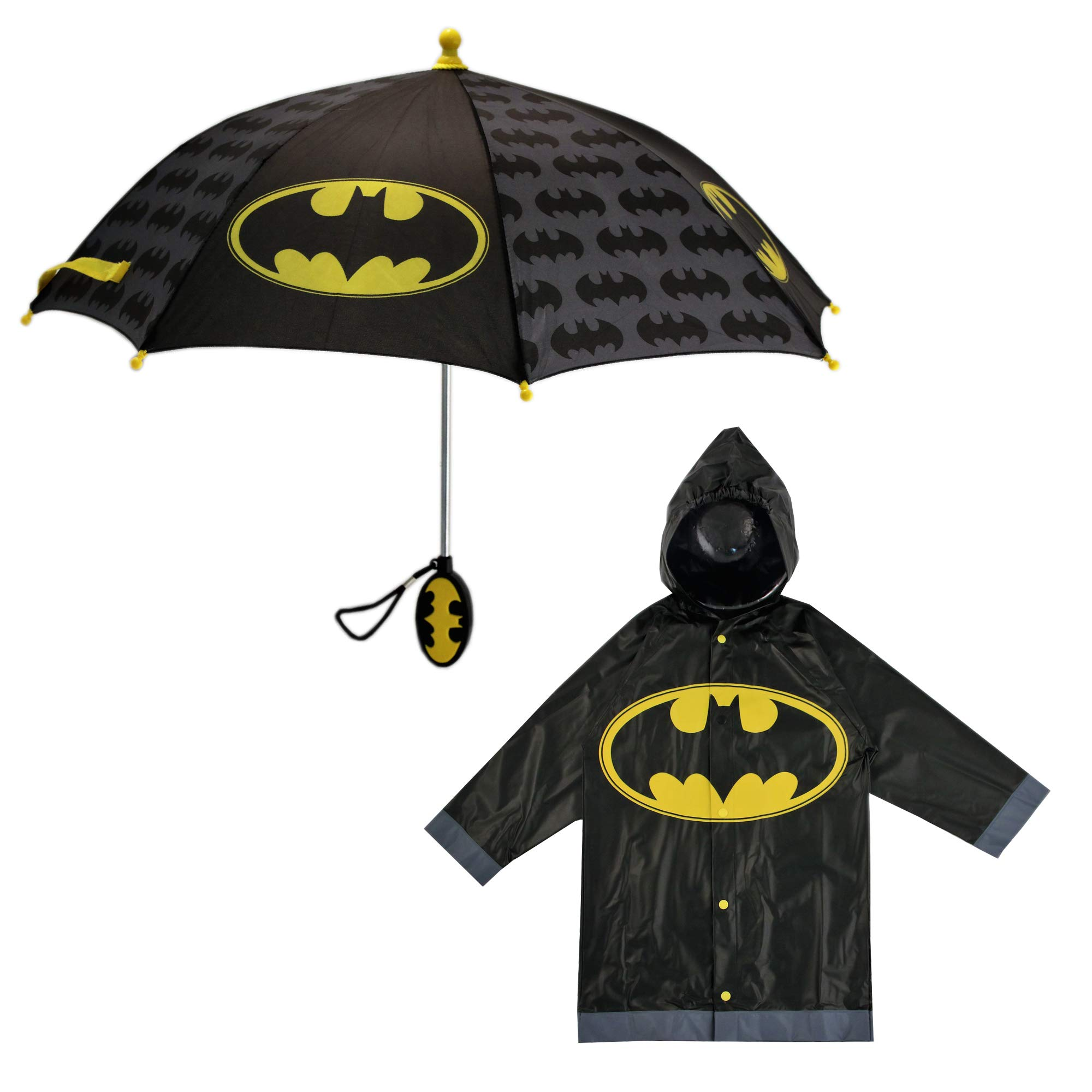 DC Comics Boys' Little Batman Character Slicker and Umbrella Rainwear Set, Black, Age 6-7