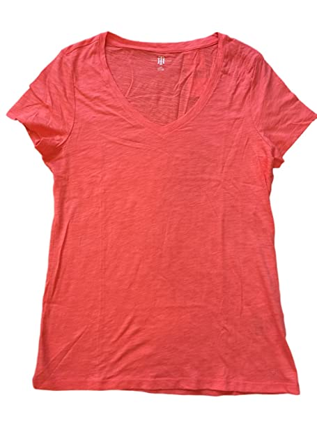 d92c9aa0 Image Unavailable. Image not available for. Color: Tommy Hilfiger Womens  Slub V Neck T Shirt (Medium, New Coral)