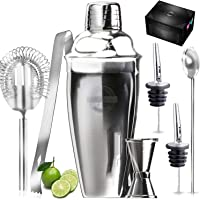 Kitchwise Cocktail Shaker Bar Set, 24 Ounces Martini Kit with Double Jigger and Spoon Plus Drink Recipes Booklet