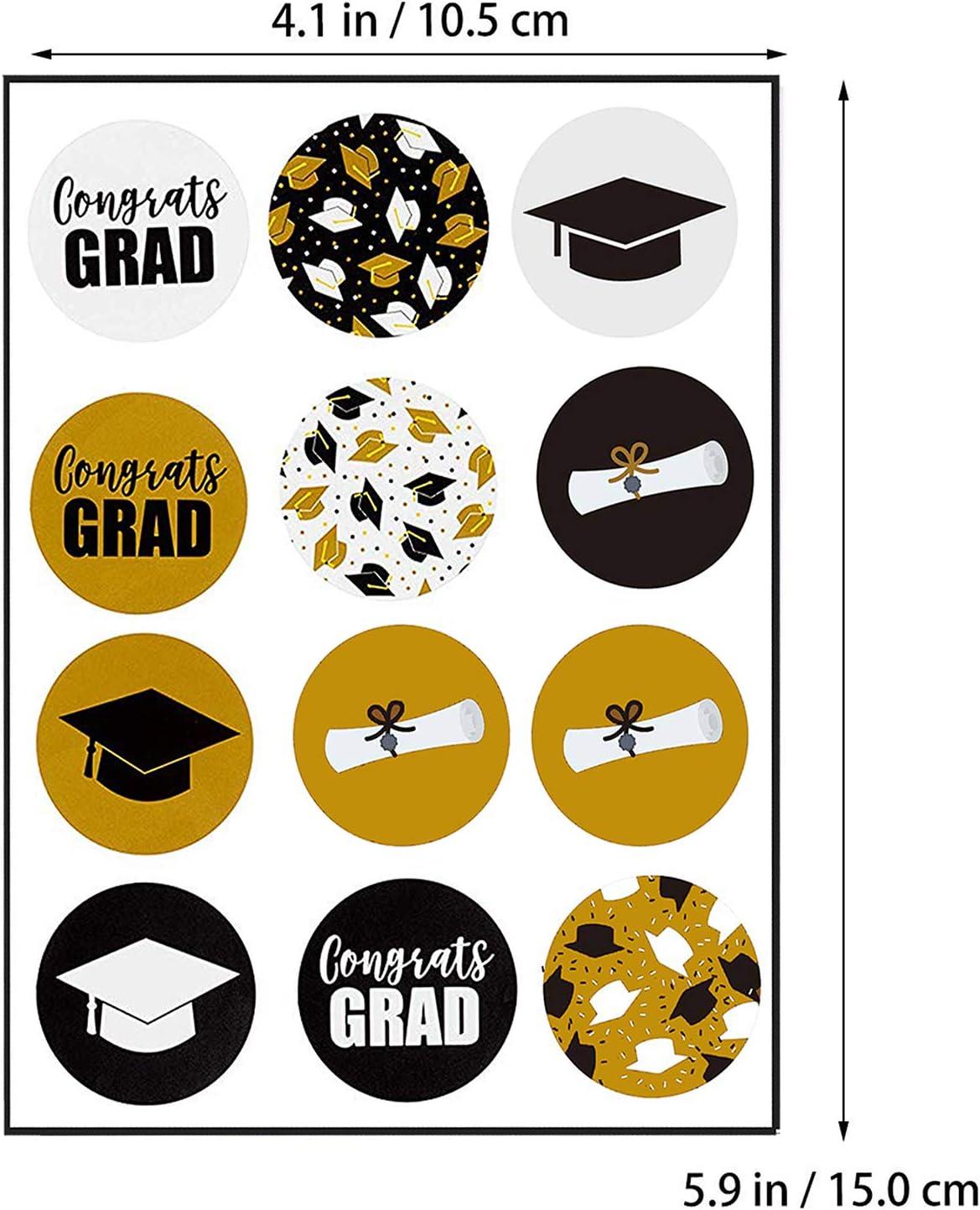 JoyTplay Pegatinas de Graduaci/ón,120Piezas Congrats Grads Estampado Sellado Rollo calcoman/ías para el sobre del Certificado Fiesta de graduaci/ón decoraci/ón