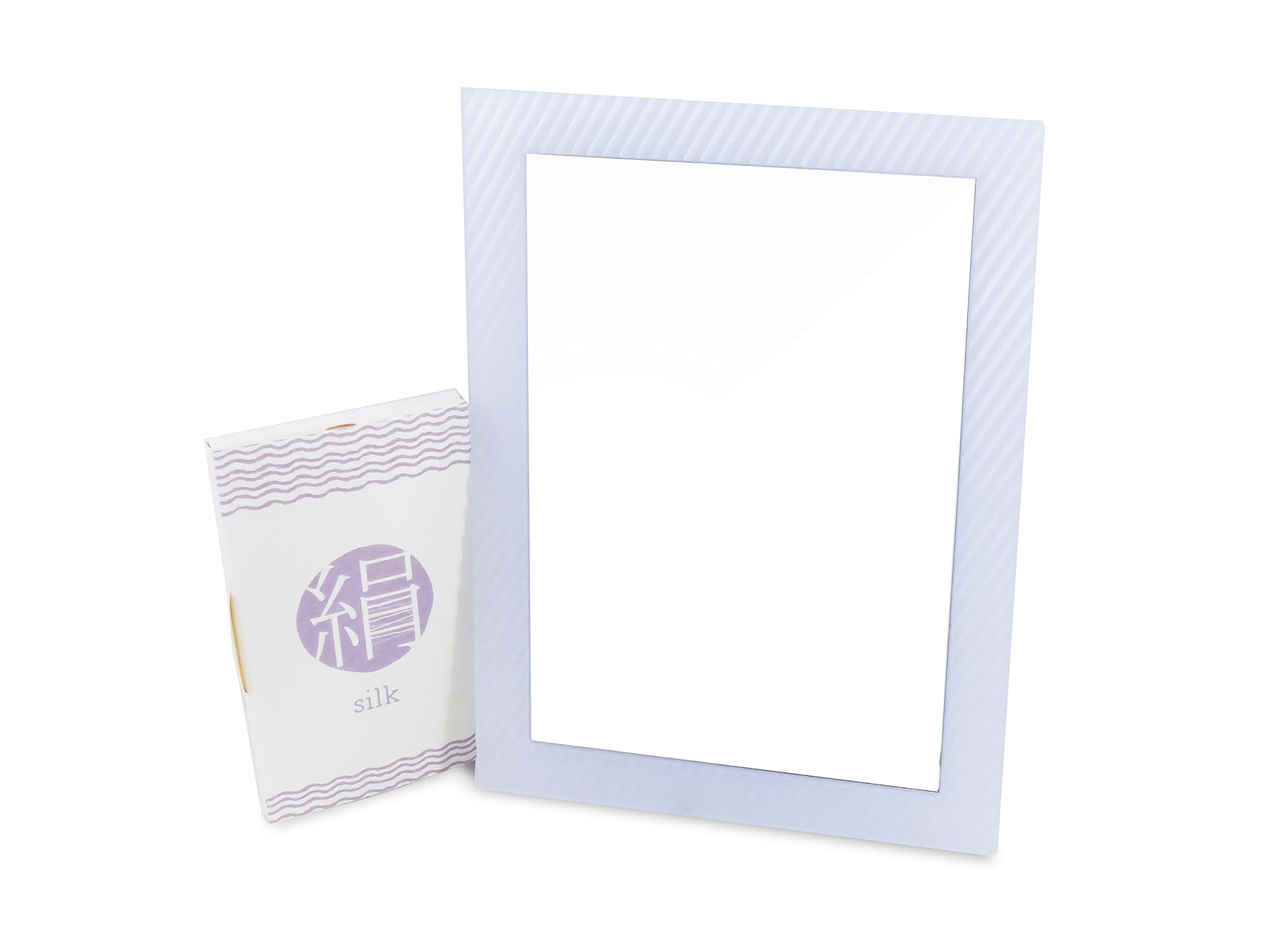Locker Makeup Glass Mirror Rectangular White 6.25'' x 4.75'' Magnetic with Silk Blotting Absorbing Oil Paper 100 Sheets (2 Piece Set)