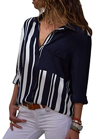 a56cedfe05c6f HOTAPEI Women Loose Shirts Elegant Work V Neck Button Down Chiffon 3/4 Long  Sleeve
