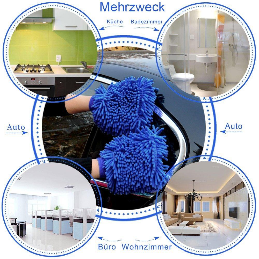 Haushalt Mikrofaser Autowaschhandschuh,YKEZHU 2 St/ück Wasserdicht weicher Mikrofaser Chenille Korallen Waschhandschuhe und 1 St/ück Microfasertuch Set f/ür Autow/äsche