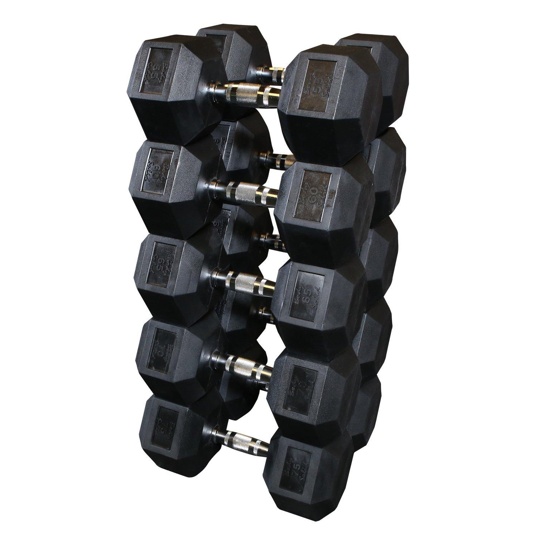 Body Solid sdrs650 55 - 75-Pound, Juego de Mancuernas hexagonales ...