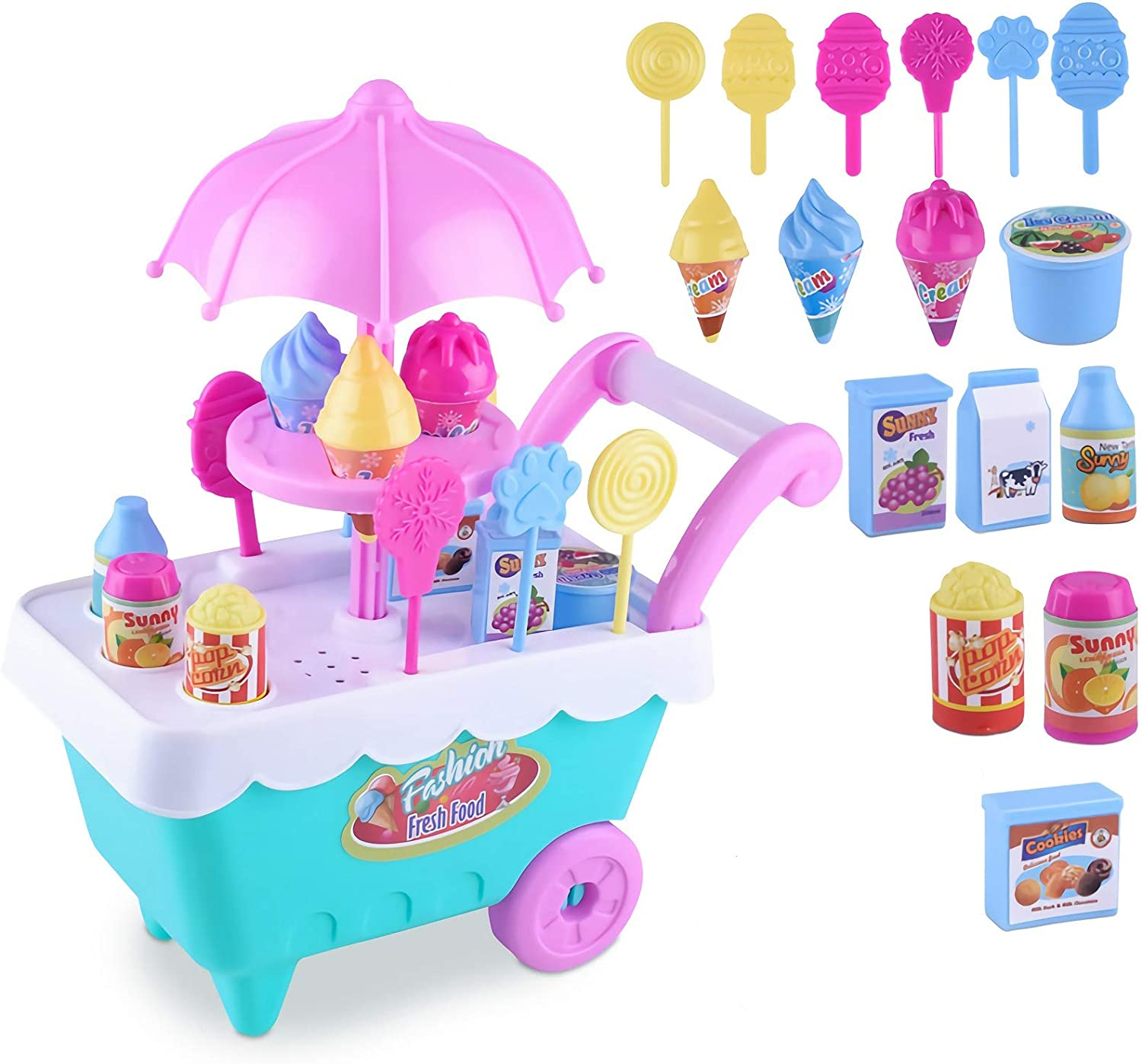 JX Pretend Play Set Ice Cream Toy Cart, Ice Cream Cart for Toddlers, Food Truck for Toddlers, Ice Cream Truck Pretend Food Play Set Gift for Kids, Toddlers, Boys & Girls, Ages 3 4 5 6 7 8