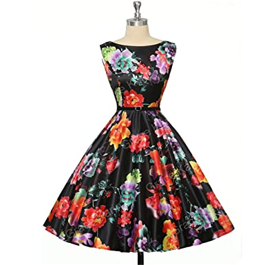 27ae44ec330 Image Unavailable. Image not available for. Color  HHSNAUF JVDFQ KBKF Womens  Cocktail Dresses Summer Style Floral Print Retro ...
