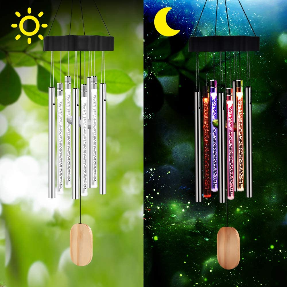 Color-Changing LED Solar Powered Wind Chime Light Lamp Decor Hanging Garden B6S8