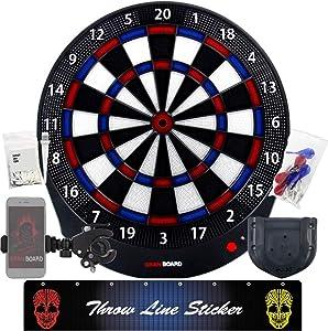 GRAN BOARD DASH BLUE Electronic online Bluetooth smart dartboard for adults & Game room Package c/w -bracket, throw line sticker, smartphone holder, extra tip 50pcs & standard gran dartboard accessory
