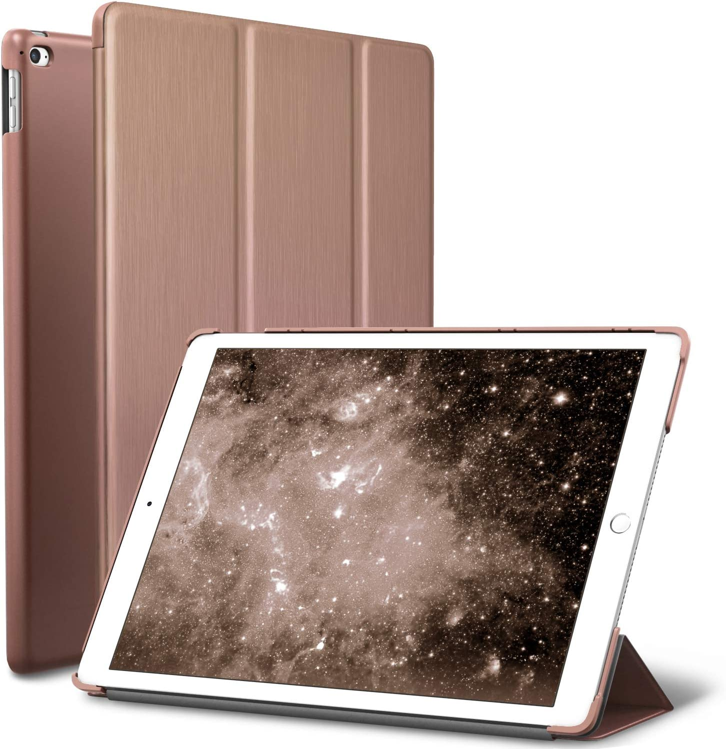 iPad Air 2 Case, ROARTZ Rose Gold Slim Fit Smart Rubber Coated Folio Case Hard Shell Cover Light-Weight Auto Wake/Sleep for Apple iPad Air 2nd Generation A1566/A1567 Retina Display