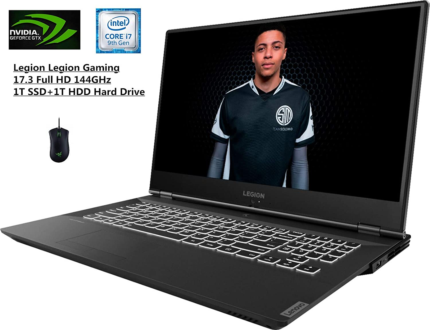 Lenovo Legion Y540 17.3-inch FHD Gaming Laptop Bundle RGB Gaming Mouse | Intel Hexa-Core I7-9750H | Nvidia Geforce GTX 1660Ti | 16GB DDR4 RAM | 1TB SSD+ 1TB HDD | Backlit Keyboard | HDMI | Windows 10