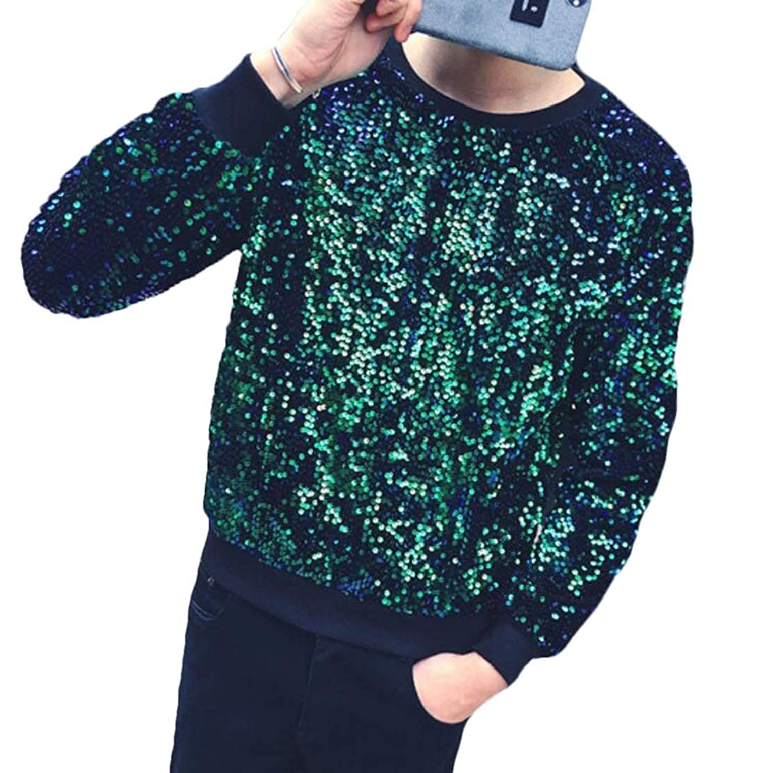 SELX Men Plus Size Round Neck Sequin Casual Long Sleeve Pullover Sweatshirts