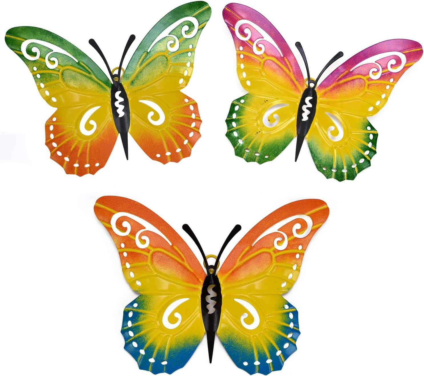 Yeahome Metal Butterfly Wall Decor - Wall Art Decorations Hanging for Kitchen, Outdoor, Fence, Garden, Yard, Set of 3 Butterflies Ornament, Handmade Gift for Indoor or Outdoor easter gifts for kids