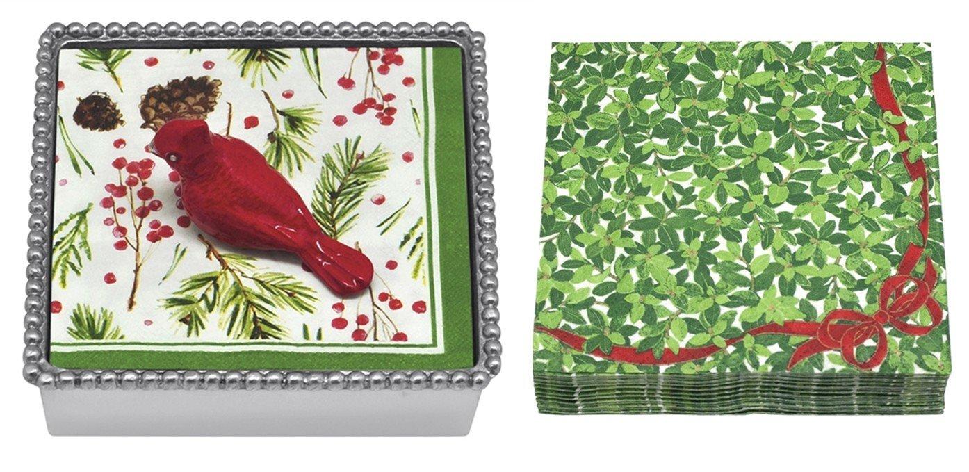 Mariposa Beaded Napkin Box with Cardinal Napkin Weight & 2 sets of Napkins by Mariposa