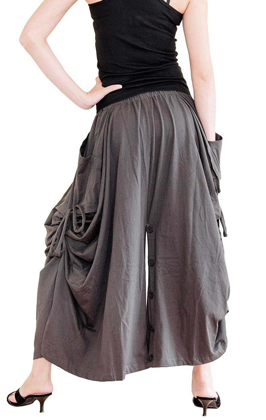 Women's Charcoal Cotton Jersey Versatile Maxi Convertible Skirt Pants Over-Skirt - DeluxeAdultCostumes.com