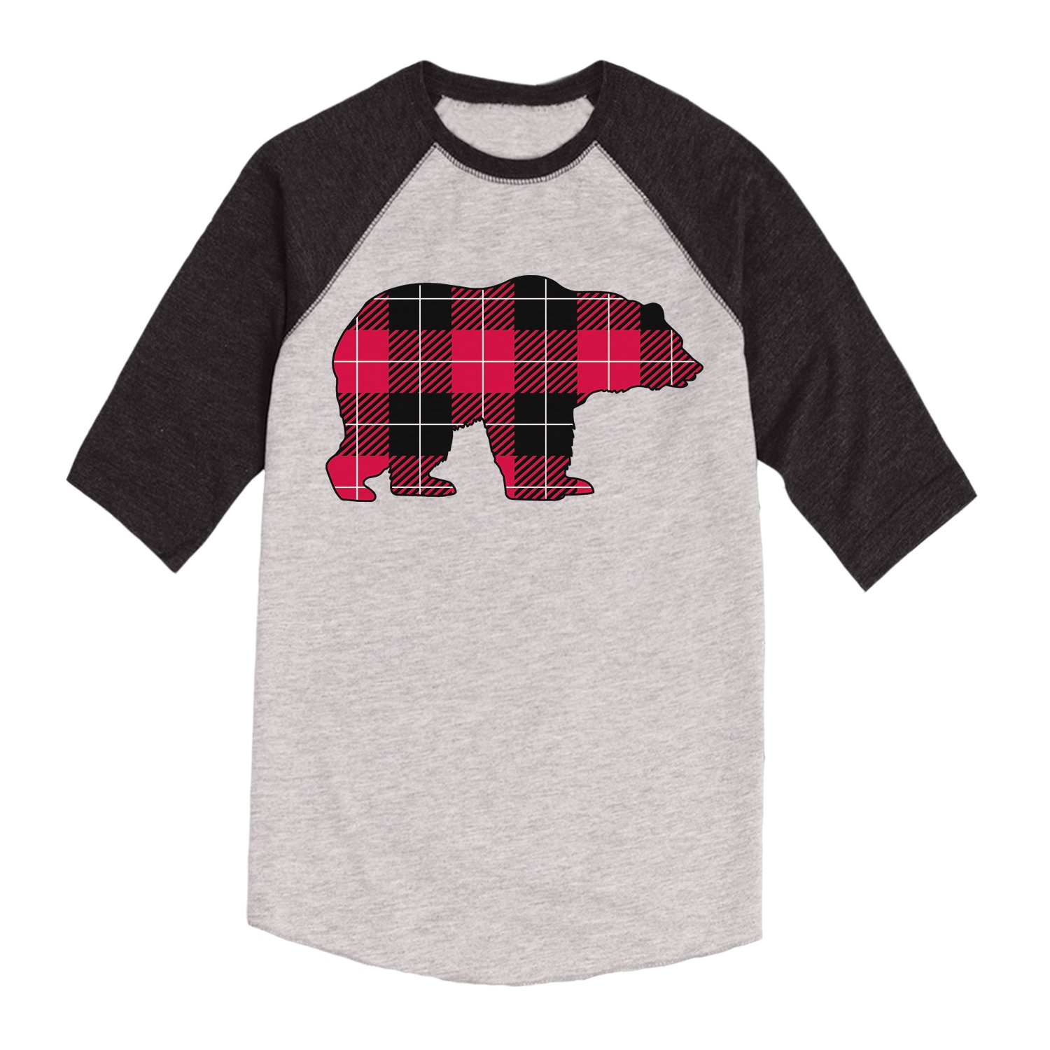 Buffalo Plaid Bear-Toddler Raglan