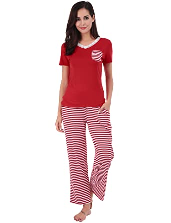 Image Unavailable. Image not available for. Color  FISOUL Womens Pajama Set  Soft Striped Short Sleeve Top   Pants Lounge Sleepwear Pjs ... c3cea6051