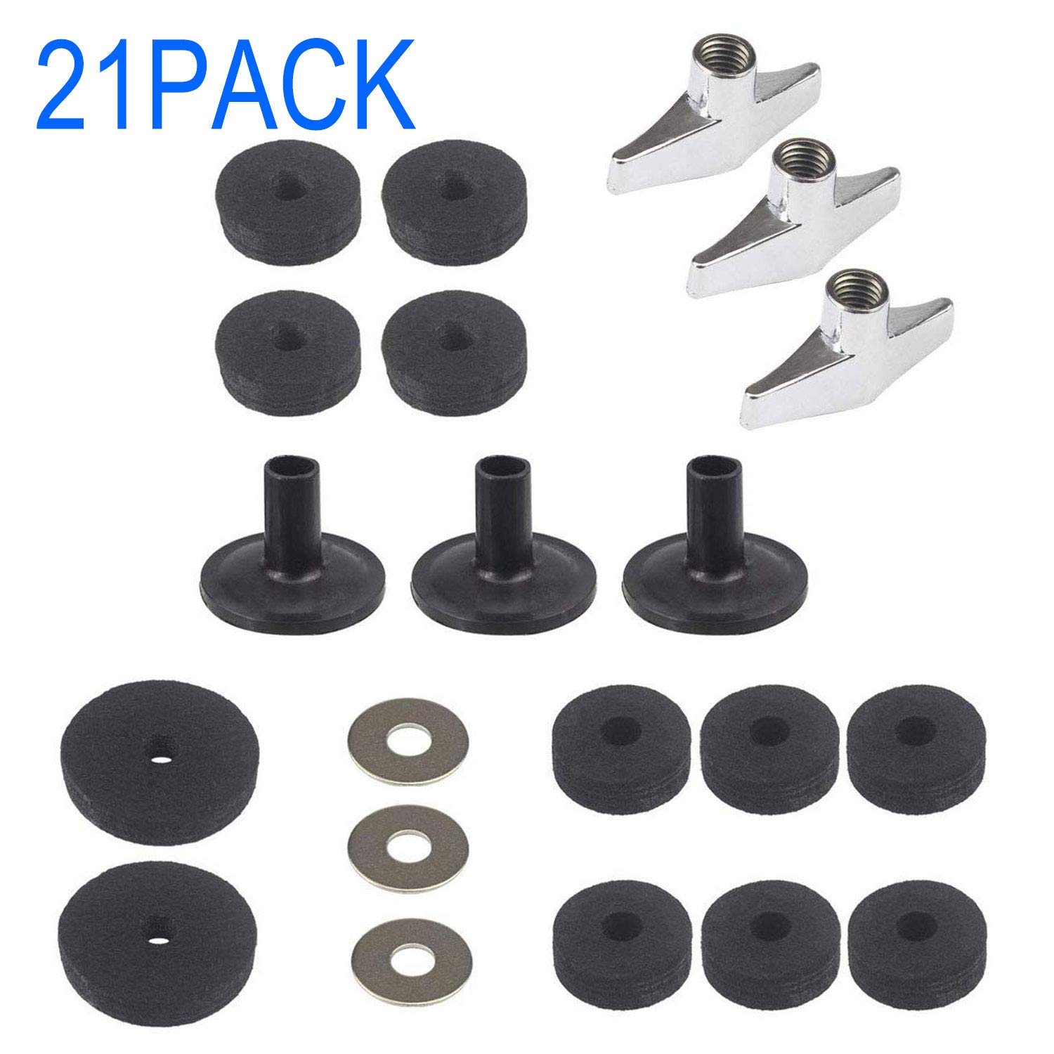 Luckkyme 21 Pieces Cymbal Replacement Accessories Cymbal Stand Sleeves Cymbal Felts with Base Wing Nuts and Cymbal Washer for Drum Set by Luckkyme