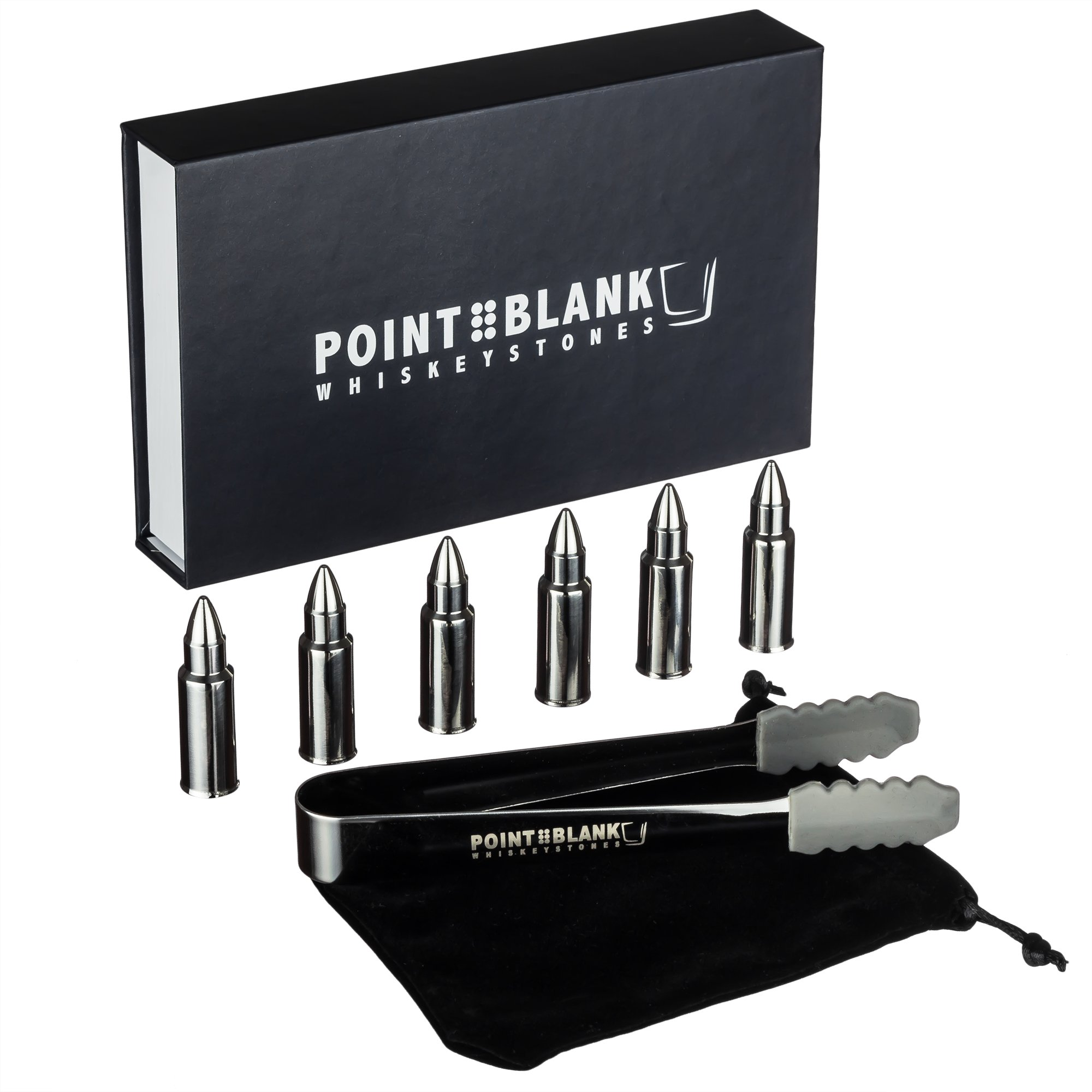 Pointblank Stainless Steel Bullet Shaped Whiskey Stones, Reusable, Stainless Steel Drink Chillers with Tongs and Storage Bag (Set of 6)