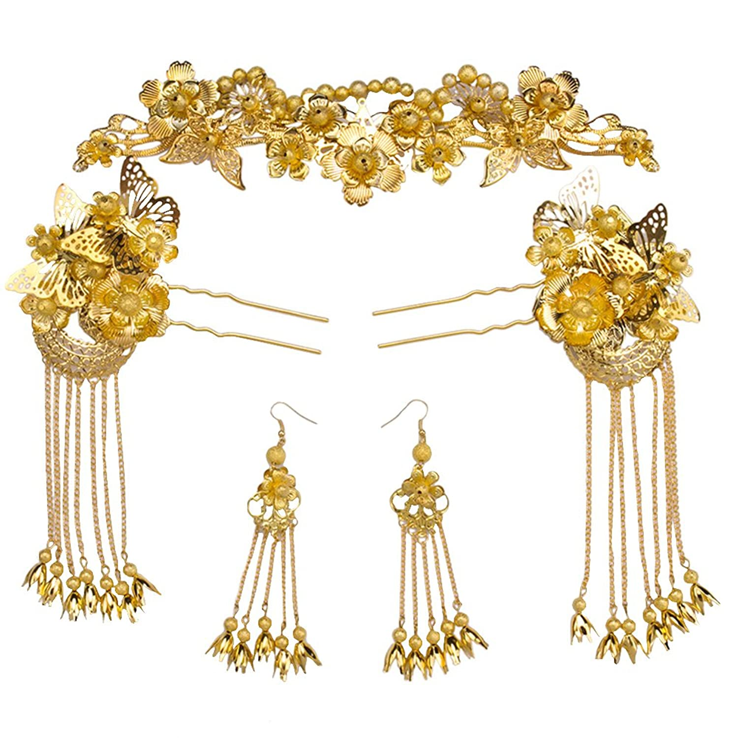 Kanrome Gold Color Phoenix Coronet Hair Jewelry Sets Chinese Style Brides Headpiece Ornaments
