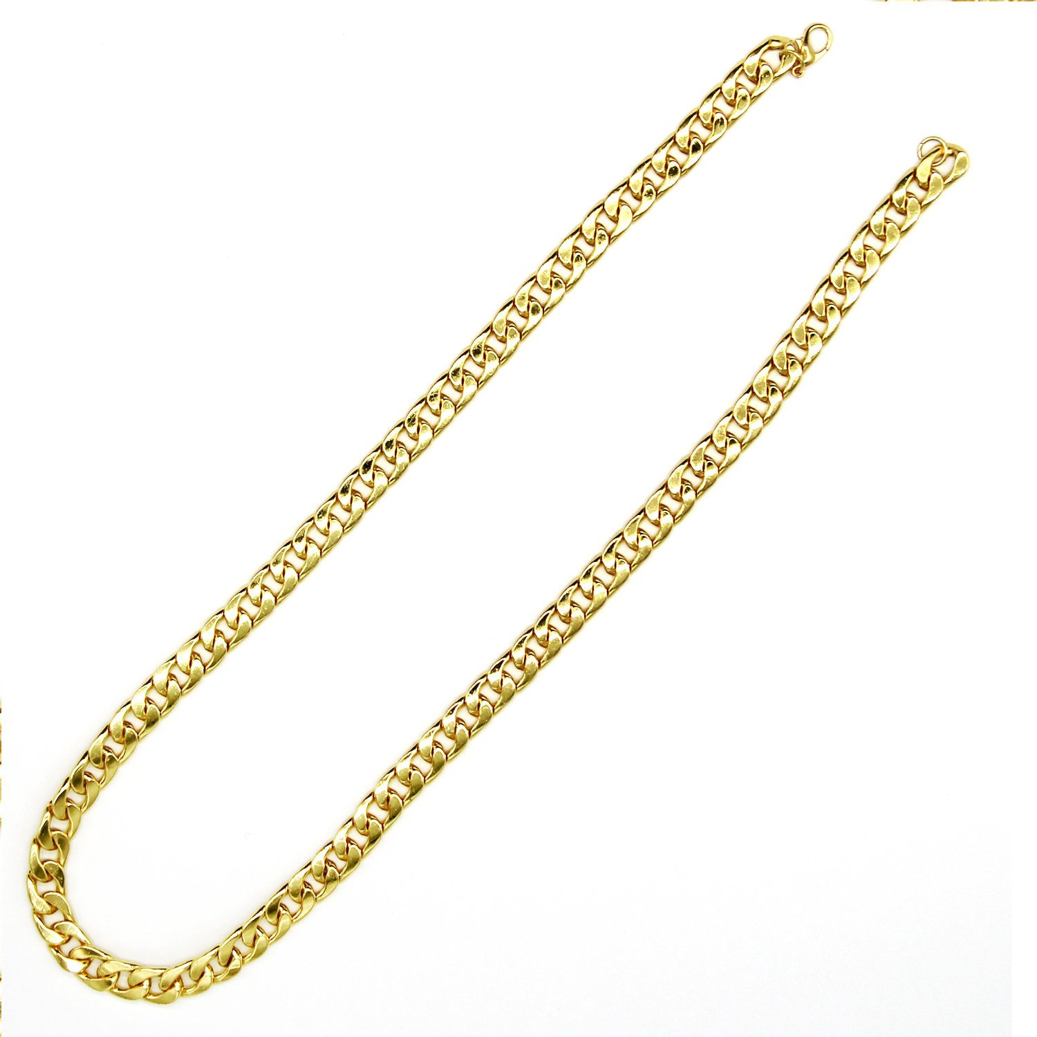 1960s Men's Clothing, 70s Men's Fashion TOOL GADGET Fake Gold Chain Necklace Super Luxury & Looks So Real. Stainless Steel Gold Flat Chain Curb Chains 6mm (24 inches) Fake Gold Coating Never Fade $8.99 AT vintagedancer.com