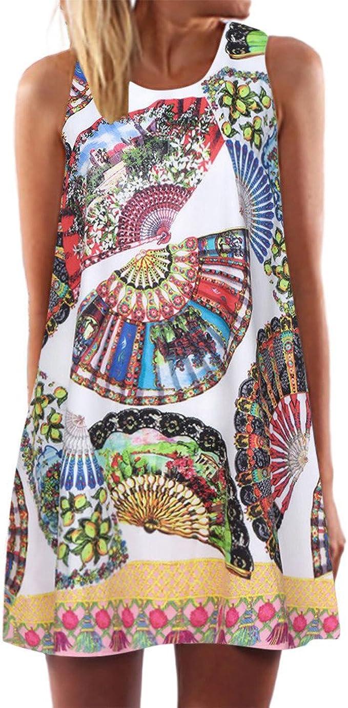 Womens Dress Summer O-Neck Boho Sleeveless Floral Printed Beach Mini Dress Casual T-Shirt Short Dress