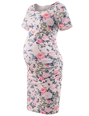0df85e0321f5c Women's Floral Printed Bodycon Maternity Dress Nursing Short Sleeve Ruched  Sides Knee Length Beige Flower S