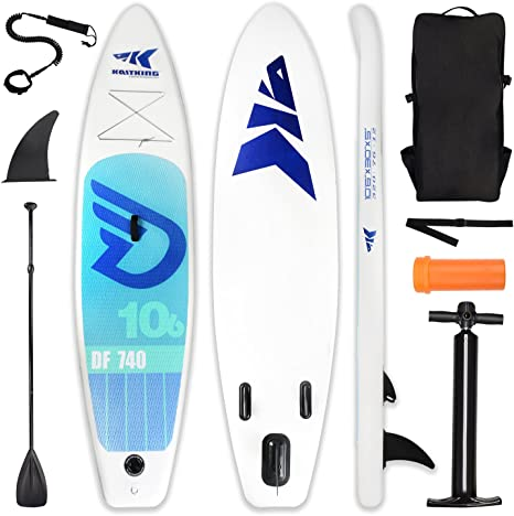 Leader Accessories 106 Inflatable Stand Up Board with Fins 6 Thick Includes Adjustable Paddle,Black Kayak Leash,ISUP Backpack,Pump with Gauge