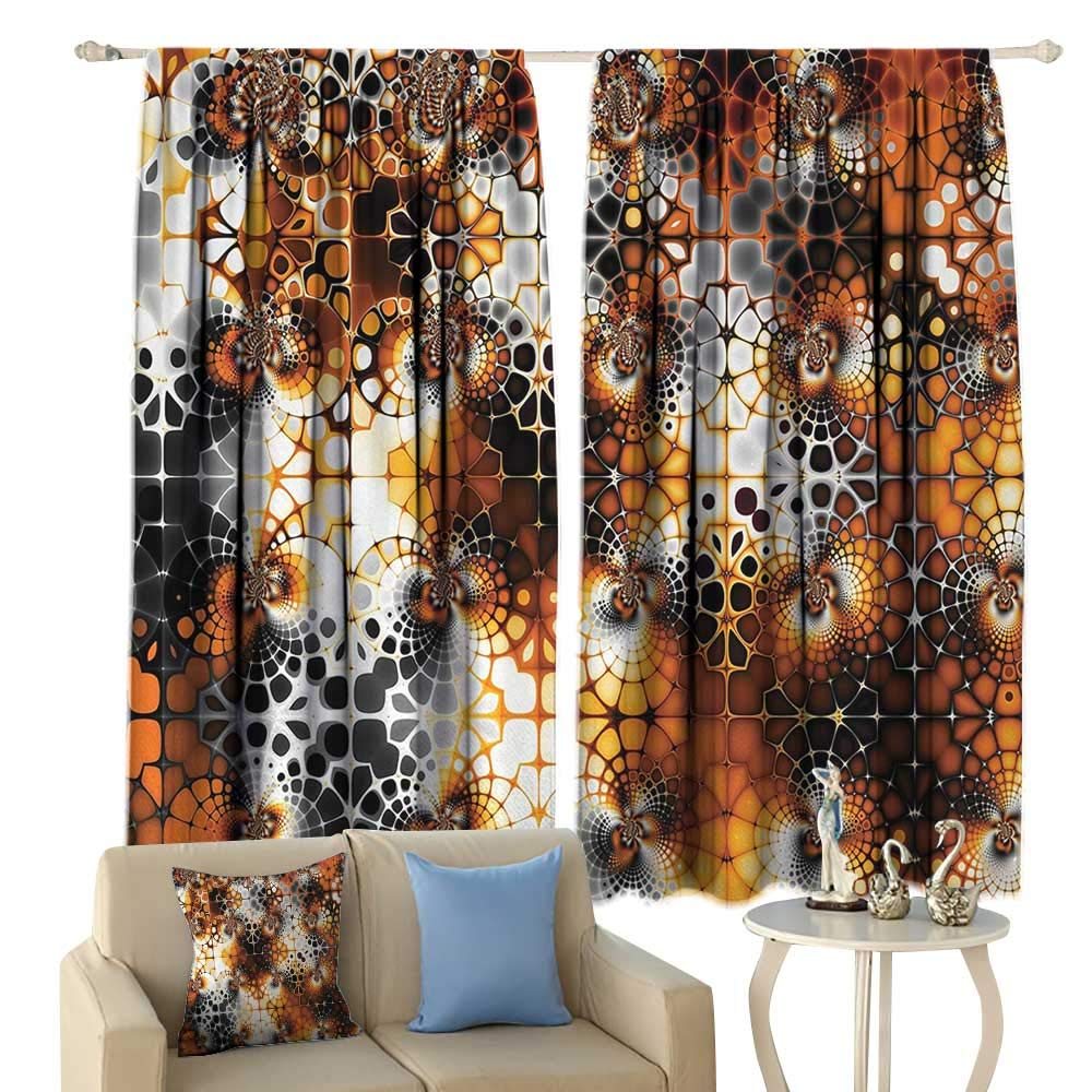 HoBeauty Burnt Orange, Thermal Insulating Blackout Curtain, Vintage Mosaic Pattern with Burnt Floral Curve Feature Abstract Graphic, Blackout Draperies for Bedroom,(W63 x L45 Inch, Black Orange Grey