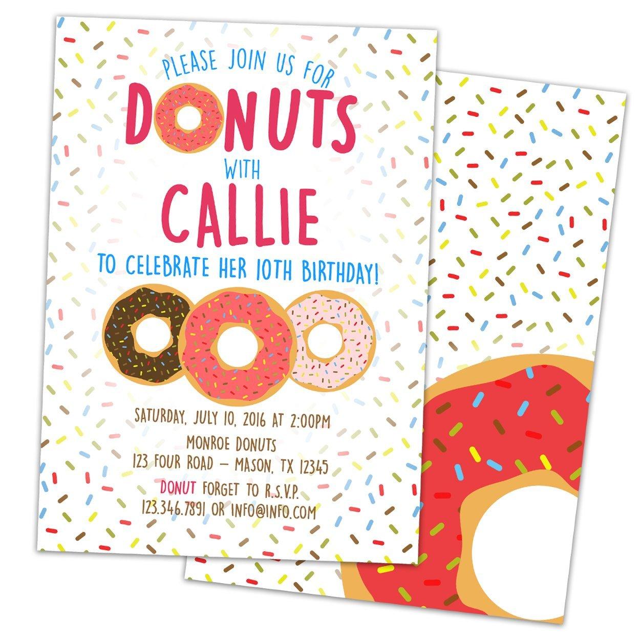 Amazon.com: Pink Donut Birthday Invitations Girl Donut Party Invite ...