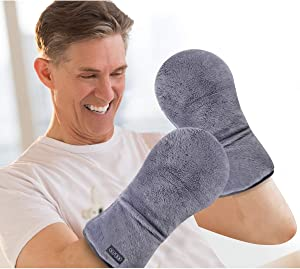 REVIX Heated Mitts for Arthritis and Hand Therapy, Microwavable Hand Warmer Gloves for Women and Men in Cases of Stiff Joints, Trigger Finger or Carpal Tunnel, Unscented Heating Mittens Gray