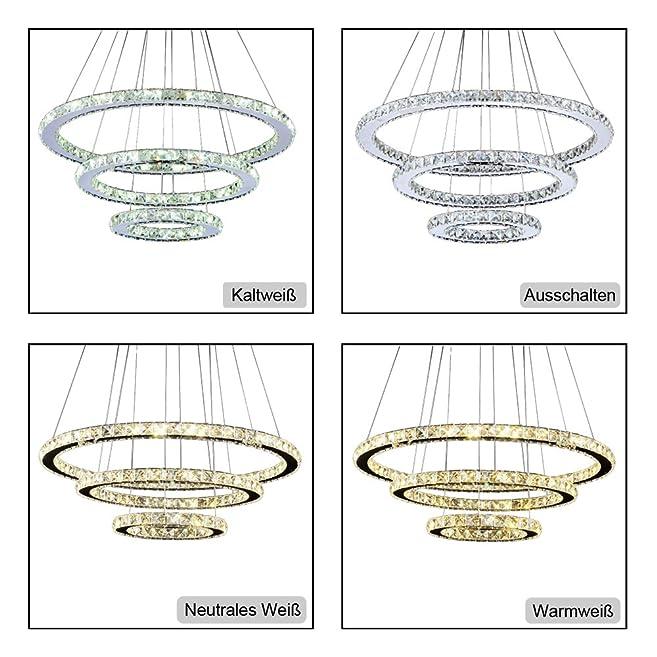 VINGO® 96W Warmweiß Weiß Kaltweiß 2700 6500K 960 8640LM 3in1 Hängeleuchte  Kronleuchter LED Dimmbar Hängeleuchte Wohnzimmerlampe Beleuchtung Modern ...