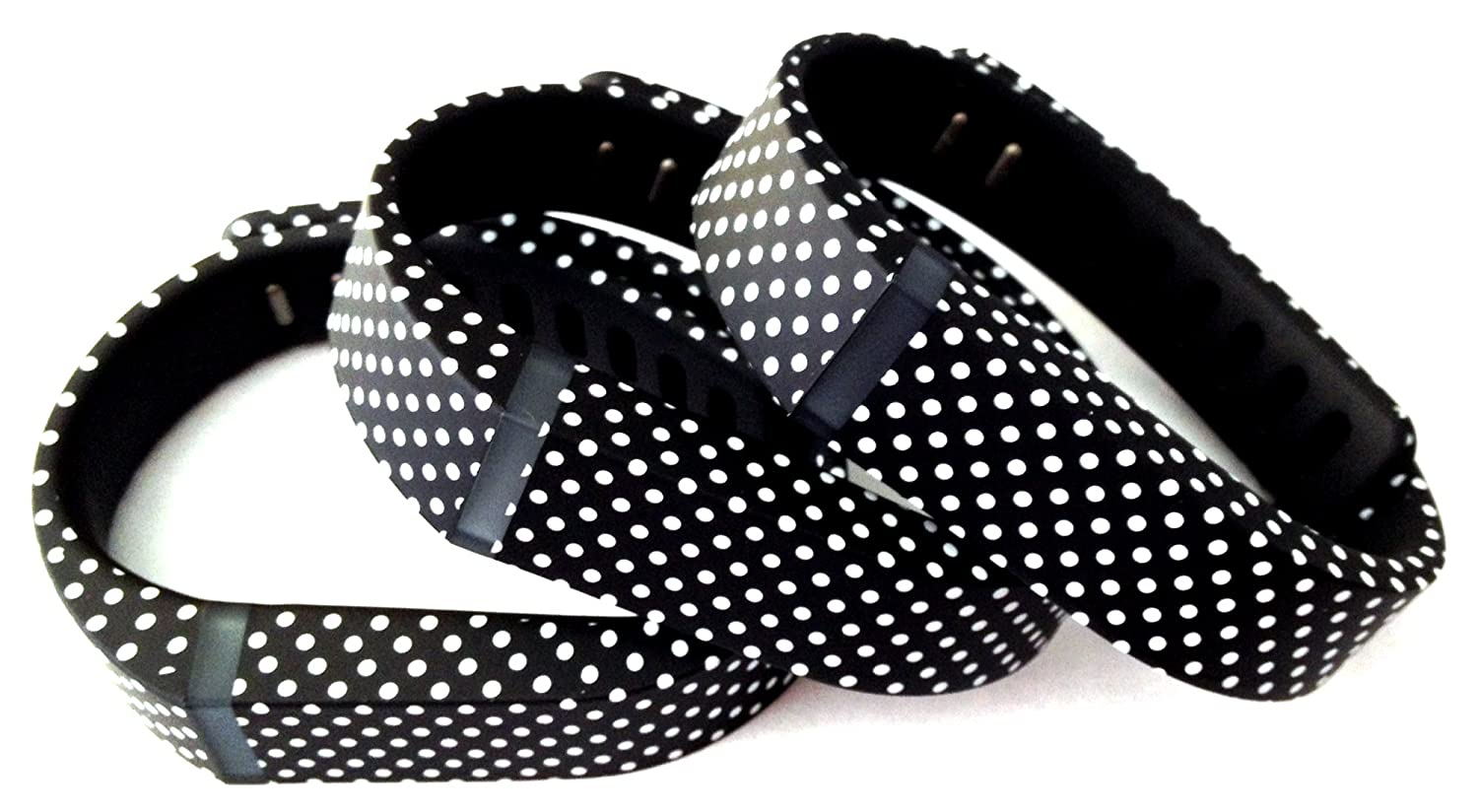 3pcs Large L Black with White Dots Spots Replacement Bands With Clasp for Fitbit FLEX Only /No tracker/ Wireless Activity Bracelet Sport Wristband Fit Bit Flex Bracelet Sport Arm Band Armband
