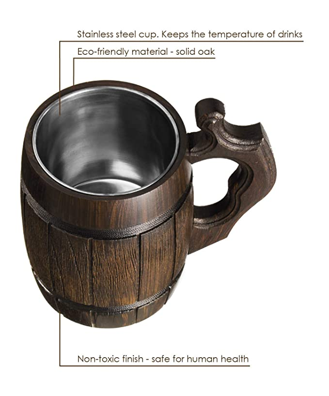 Handmade Beer Mug Oak Wood Stainless Steel Cup Natural Eco-Friendly 0.6 liters 20 ounces Barrel Brown