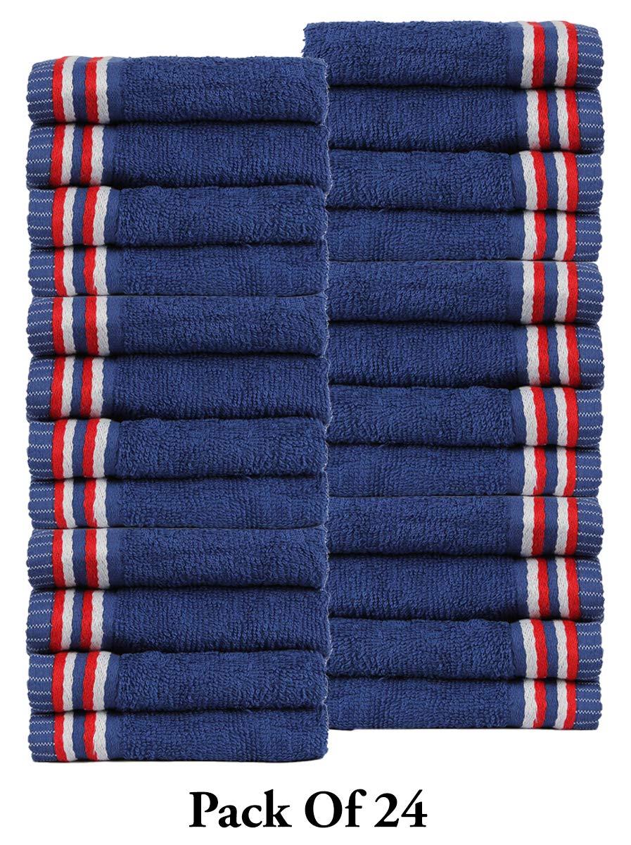 CASA COPENHAGEN Trident Candy Stripes 400 GSM Super Soft 24 Pack Baby Wash Cloth Burp Towels, Navy Blue by CASA COPENHAGEN