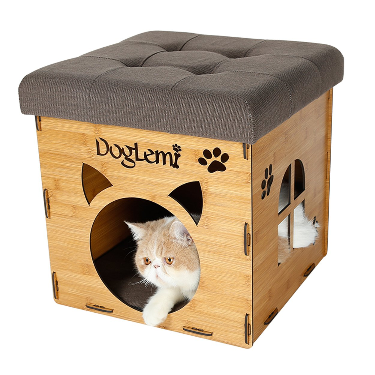 Beige S-Lifeeling Pet Nest Cat Litter Foldable Functional High-Grade Wooden Cushion Pet Cat Small Dog House Bed Mat Cave and House Chair