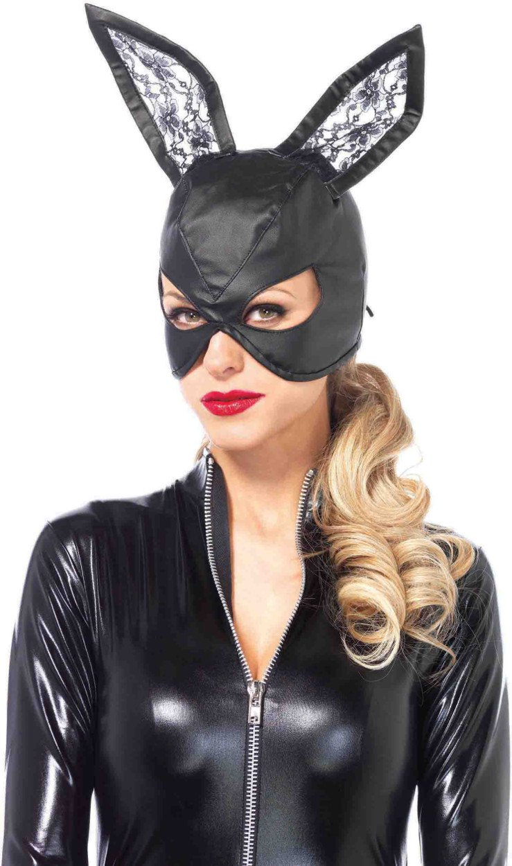 Leg Avenue Women's Bunny Mask Costume Accessory, Black, One Size