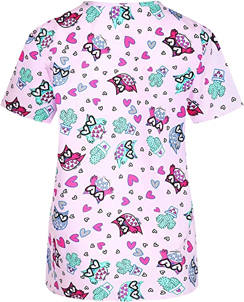 MedPro Conjunto de ropa médica estampada para mujer con top y pantalones