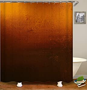 Klattii HD OrangeOr Copper Colored Background with Warm Brown Earth Tones Shower Curtain Set with Hooks Bathroom Decor Waterproof Polyester Fabric Bathroom Accessories Bath Curtain
