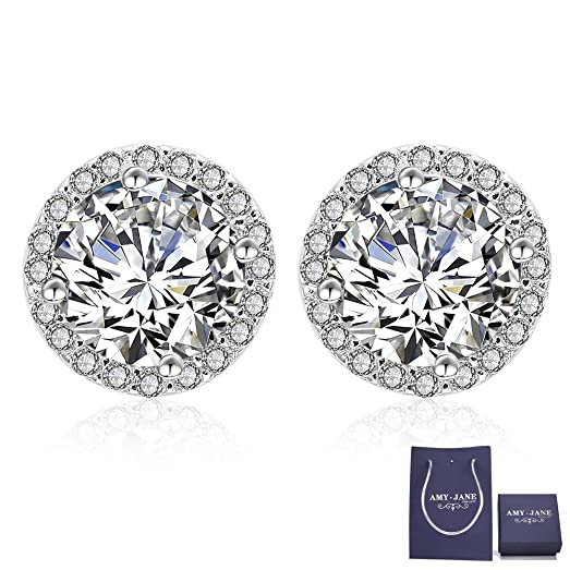 Sterling Silver Studs Earrings for Women Cubic Zirconia Ear Stud Ladies Crystal Jewellery uRQBB