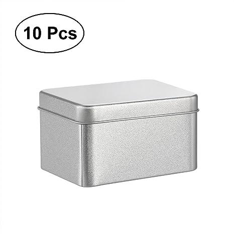 BESTONZON 10 UNIDS Cuadrado Mate de Plata Latas de Metal Claro Cajas de Metal Superior Para