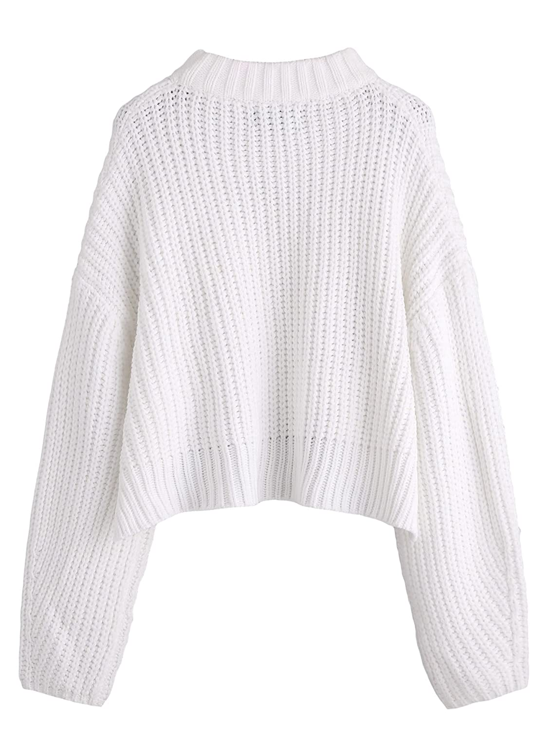 05a834df5258 SheIn Women's Mock Neck Drop Shoulder Oversized Batwing Sleeve Crop Top  Sweater White One-Size at Amazon Women's Clothing store: