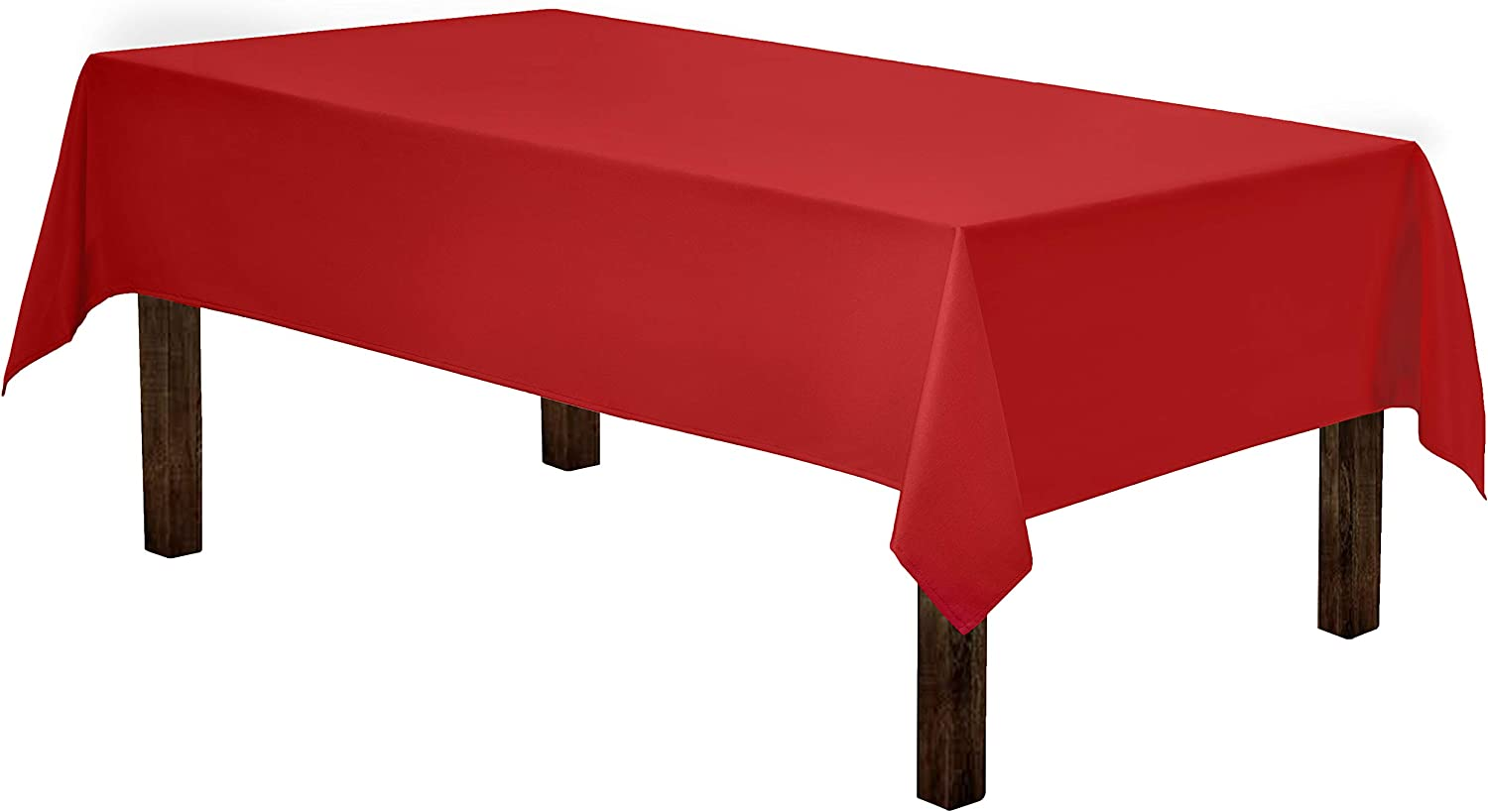 Gee Di Moda Rectangle Tablecloth - 60 x 84 Inch - Red Rectangular Table Cloth for 5 Foot Table in Washable Polyester - Great for Buffet Table, Parties, Holiday Dinner, Wedding & More