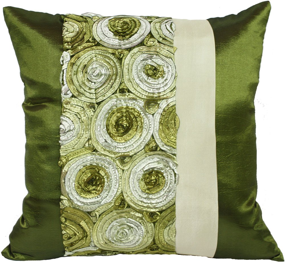 "Artiwa 16""x16"" Silk Throw Decorative Pillow Cover Case for Couch Bed Green Rose Floral"