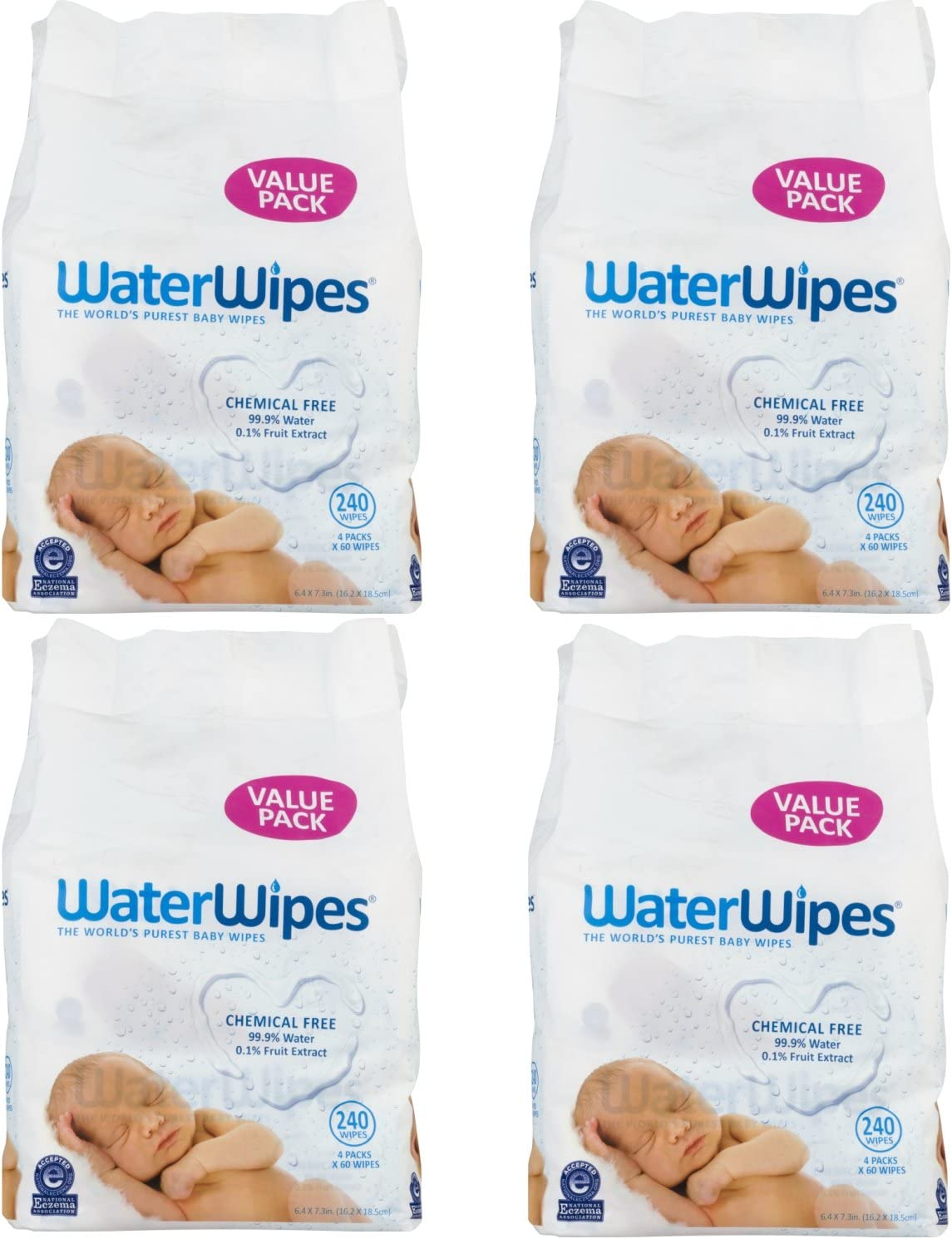 4-Pack Natural /& Chemical-Free WaterWipes Sensitive Baby Wipes 240 Wipes 4 packs of 60 Count