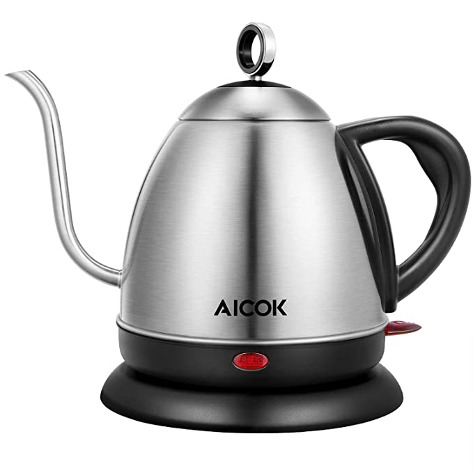Electric Kettle, Aicok Electric Gooseneck Kettle, Pour Over Kettle for Coffee or Tea, 1L Fast Heating Stainless Steel Water Kettle with Boil Dry Protection & Automatic Shutoff, 1000W best electric tea kettle