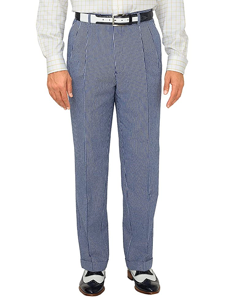 Paul Fredrick Men's Cotton Seersucker Pleated Suit Pants RMN521T000000