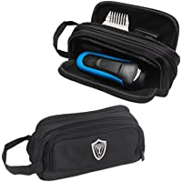Damero Travel Organizer, Men Grooming Storage Bag with Two Compartments for Electronic Shaver, Hair Clipper, Beard Trimmer and Attachment, Roomy, Lightweight and Portable, Black