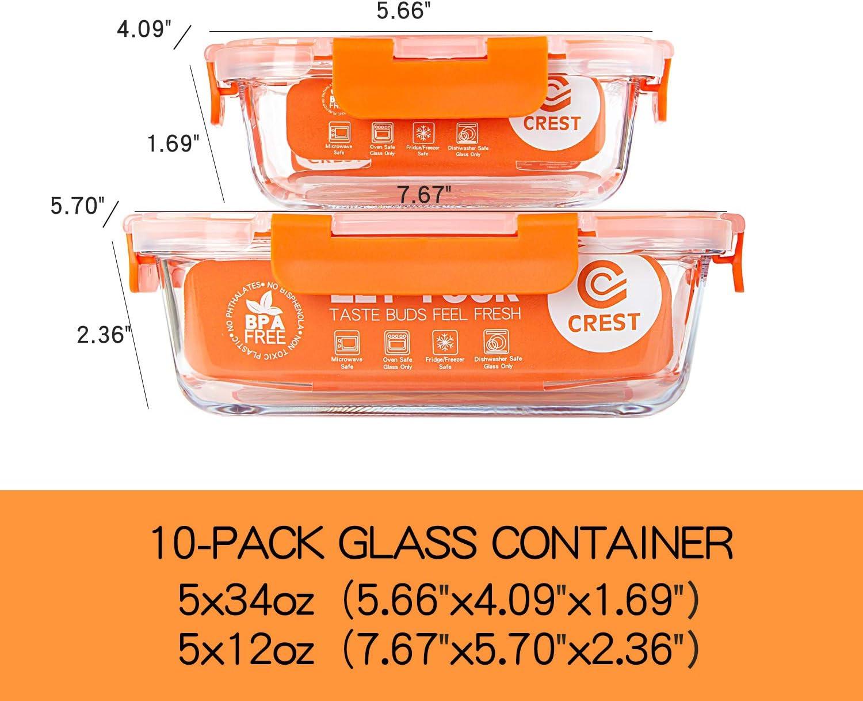 CREST Confezione da 10 Contenitori di Vetro per la conservazione di Alimenti - Contenitori per la Preparazione di Alimenti con coperchi Senza BPA - Microonde, Forno, Freezer e lavastoviglie sicuri