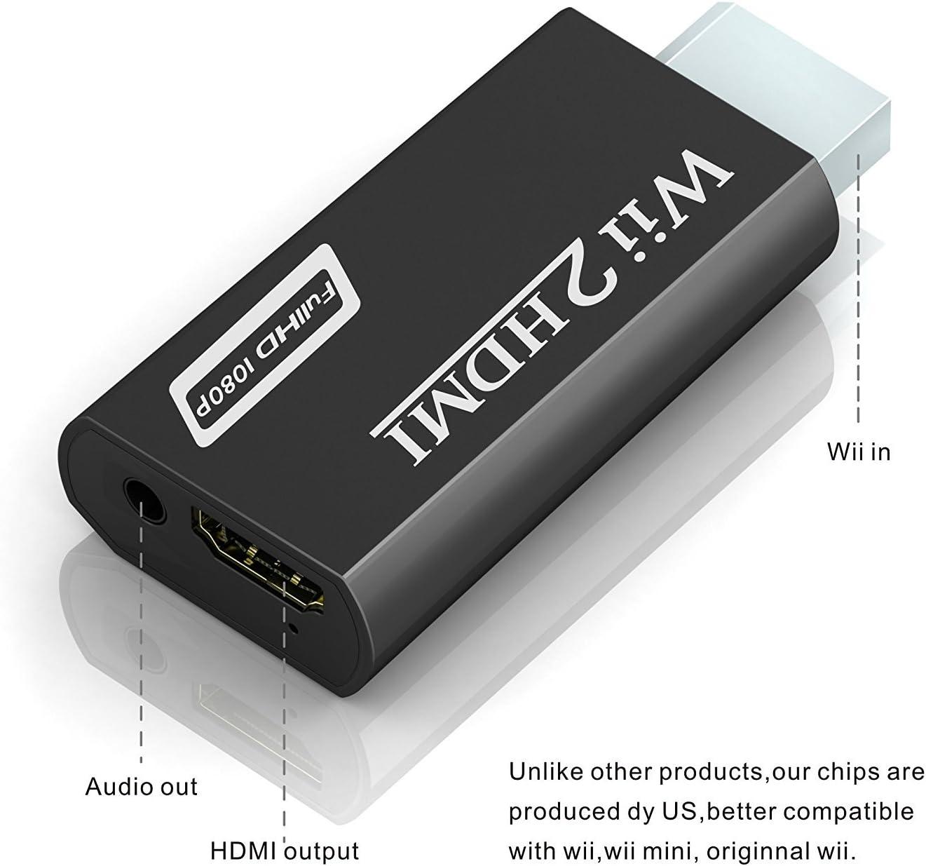 Wii a HDMI adaptador, gana Wii a HDMI convertidor conector con salida de vídeo de 1080p/720p y 3,5 mm Audio: Amazon.es: Electrónica