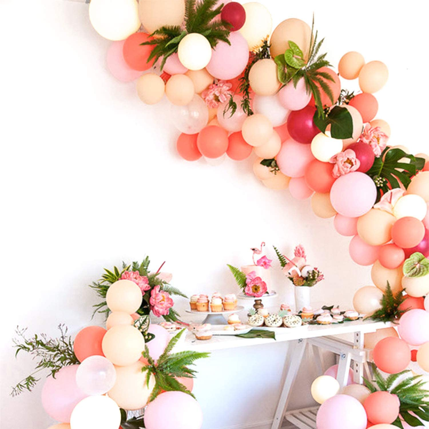 PartyWoo Blush Balloons, 100 pcs Blush Pink Balloons, Fuchsia Balloons, Baby Pink Balloons, Pastel Orange Balloons, Ivory Balloons for Blush Bridal Shower, Blush Wedding Decors, Blush Pink Baby Shower